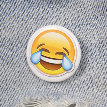 Crying Laughing Emoji 1.25 Inch Pin Back Button Badge