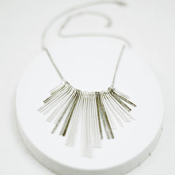 Necklace with Metal Tassel - Silver Tone