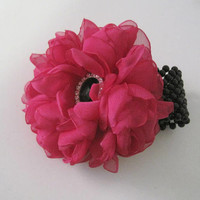 Bright Pink Chiffon Wrist Corsage with Black Pearl Cuff Bracelet and Black Rhinestone Accent Choose Bracelet Style and Embellishment Prom