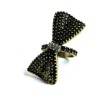 """Take A Bow"" Bow Gold And Black Accent Midi Ring"