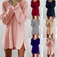 Sweater Casual Zippers One Piece Dress [9560987471]