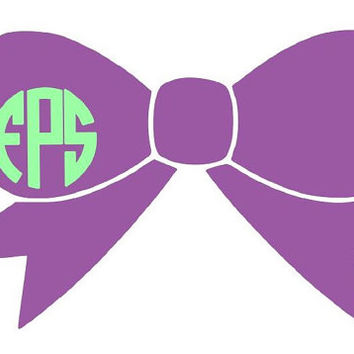 Personalized Two Color Bow Decal Monogram