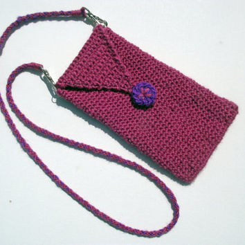 Phone Pouch OR Glasses Case with DETACHABLE Neck Strap, Pink iPhone Sleeve, Pink Handspun Crochet Glasses Pouch,  Merino Neck Strap Lanyard