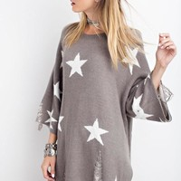 OVERSIZED DISTRESSED STAR SWEATER