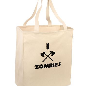 I Axe Zombies - Funny Apocalypse Large Grocery Tote Bag