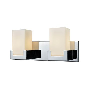 Balcony 2-Light Vanity Lamp in Polished Chrome with Opal White Glass