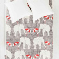 Holli Zollinger For DENY Elephant & Umbrella Duvet Cover- Grey