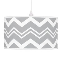 Grey And White Thick And Thin Chevron Pattern Lamp