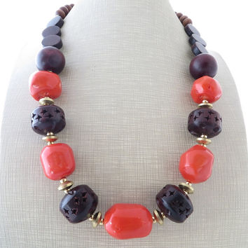 Orange coral necklace, chunky necklace, wooden necklace, carved beaded necklace, ethnic necklace, exotic jewelry, valentine's gift for her