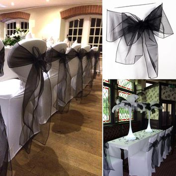 Free shipping 100pcs Black 18x275cm Organza Chair Sashes Chair Cover Bows Wedding Favors Party Decorations