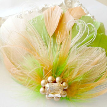 Prom Feather Hair Accessory, Feather Fascinator, Bridesmaid, Bridal, Hair PIece, Peacock, Green, Peach, Apricot, Feather,  Prom