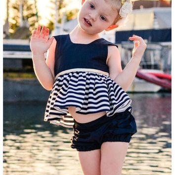 2017 Summer New Hollow Out Dress Baby Girls Backless Striped Dresses Sleeveless Kids Girl's Mini Vestido One-Pieces Costumes