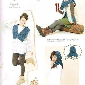 Knit Wear & Komono Accessories Pattern, Japanese Knitting Book for Women, Winter Warm Outfit, Easy Knitting Tutorial, Snood, Sweater, B1102