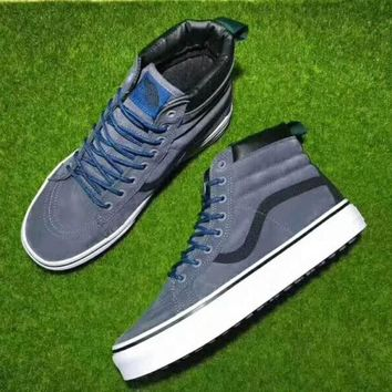 Vans Black Blue Ankle Boots Old Skool Canvas Flat Sneakers Sport Shoes G-CSXY
