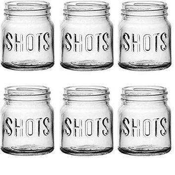 Circleware 42785 Kickers Block Embossed Shot Glasses Set of 6 49 Ounce Clear Limited Edition Whiskey Drinking Cups