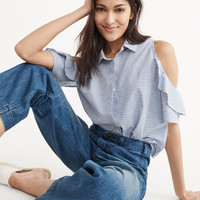 Womens Cold-Shoulder Ruffle Top | Womens Tops | Abercrombie.com