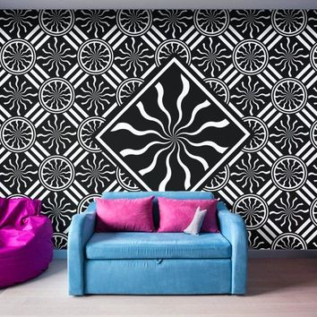 Wavy Black and White Diamond Pinwheels and Stripes 2 - Peel and Stick Removable Wallpaper Full Size Wall Mural