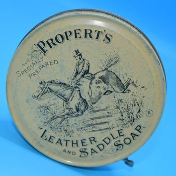 Propert's Leather & Saddle Soap Tin Vintage Empty Britain Cream Brown Advertising Tin Horse Equestrian Decor English Advertising Tin