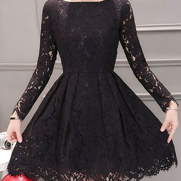 Streetstyle  Casual Boat Neck Hollow Out Solid Lace Skater Dress