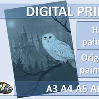 Harry Potter Owl Hogwarts Art Print Poster Original Digital Painting Instant Download Printable Card Wall Home Decor A3 A4 A5 A6 Postcard