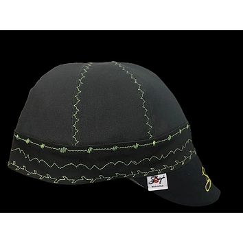 Embroidered Bright Green Topstitching Prewashed Canvas Welding Cap Size 7 5/8