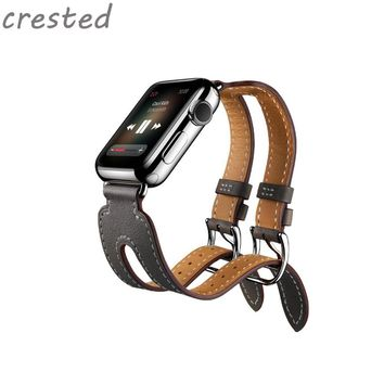CRESTED Genuine Leather Double Buckle Cuff Watch Band For Apple Watch band 38/42  Leather watch bracelet apple smart watch strap