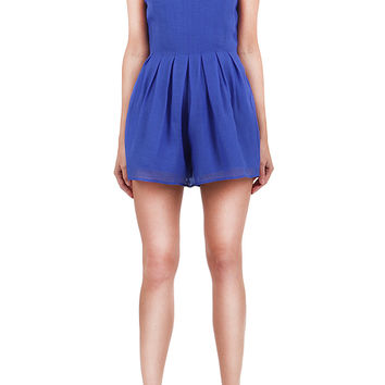 Pleated Cross-Back Romper