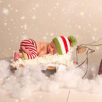 Newborn Photography Props Baby Children Striped Crochet Knitted Christmas Hat with Pants Newborn Props Photo