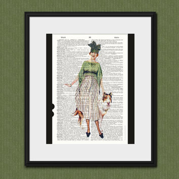 ROARING TWENTIES FLAPPER Vintage Dictionary Art Print The Great Gatsby Girl Upcycled Home Decor Art Deco Wall Decor Women's Fashion Art 1920