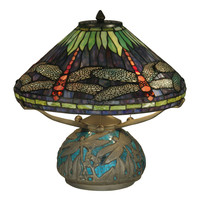 "Dale Tiffany Dragonfly Medley 17"" H Table Lamp with Empire Shade"