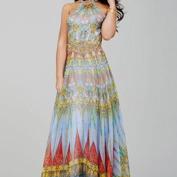 Jovani 23419 BOHO Chic Print Halter Evening Gown Prom Dress