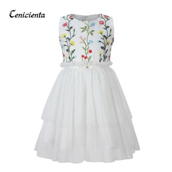Cenicienta Princess Dress White Floral Embroidery Mesh Cute Layered Cotton Summer Girls Clothing for Mermaid Party and Birthday