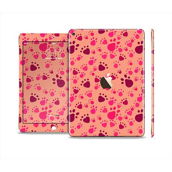 The Pink & Tan Paw Prints Skin Set for the Apple iPad Air 2