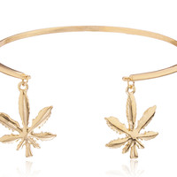 Goldtone Bar Arm Cuff with Marijuana Leaves - One Size Fits Most