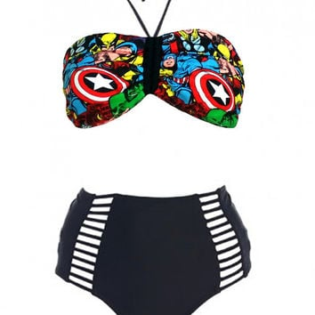 Sexy Women Super Hero, Strappy High Waist Bandeau Bra Bikini Retro Halter Swimsuit, Marvel Comics Bikini High Waist Swimwear Swimsuit Set