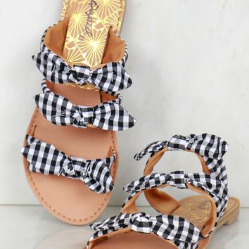 Triple Bow Gingham Slip On Sandals Black/White