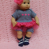 "AMERICAN GIRL Bitty Baby Clothes ""Hearts x 3"" (15 inch) doll outfit dress, shorts, booties/ socks, and headband"