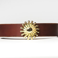 Chestnut Brown Leather Choker - Brass Rowel Spur -  Brass Fasteners