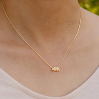 bear necklace. gold everyday necklace. tiny small petite dainty minimalist charm jewelry. no12