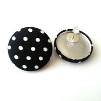 NEW black and white polka dot large fabric button by ButtonUpp