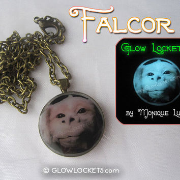 Falcor the Luck Dragon Neverending Story inspired Fantasy glow in the dark pendant