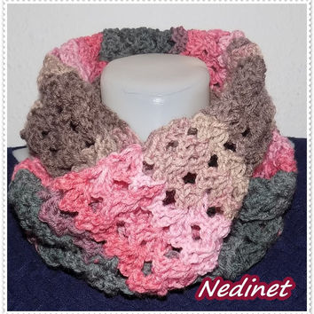 Women's crochet circle gradient scarf  FREE shipping
