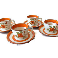 Stangl Pottery Bittersweet Cups and Saucers Set of 4