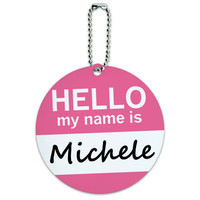 Michele Hello My Name Is Round ID Card Luggage Tag