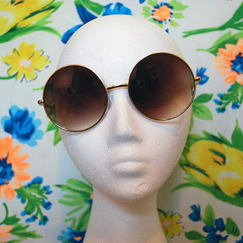 50% off - Janis Joplin Oversized Sunglasses Vintage Brown Hippie Circle Glasses