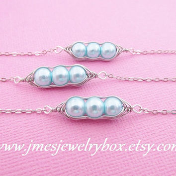 Three peas in a pod best friend bracelet set - Sky blue