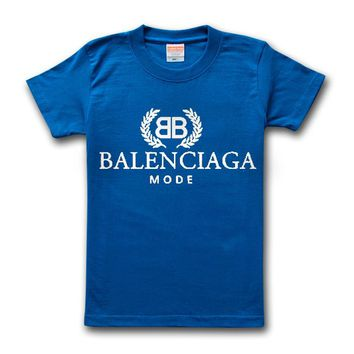 Balenciaga 2019 new double B letter printed solid color round neck half sleeve T-shirt blue