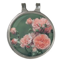 Beautiful pink roses on a natural green background golf hat clip