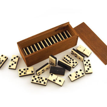 Dominoes gaming set, dovetail wooden box, Complete set of bone and wood antique tiles. 28 piece dominos, Domino's ebony