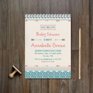Tribal Baby Shower Invitation Printable, Tribal Birthday Invite, Digital File - Aztec Arrow , Pink & Blue